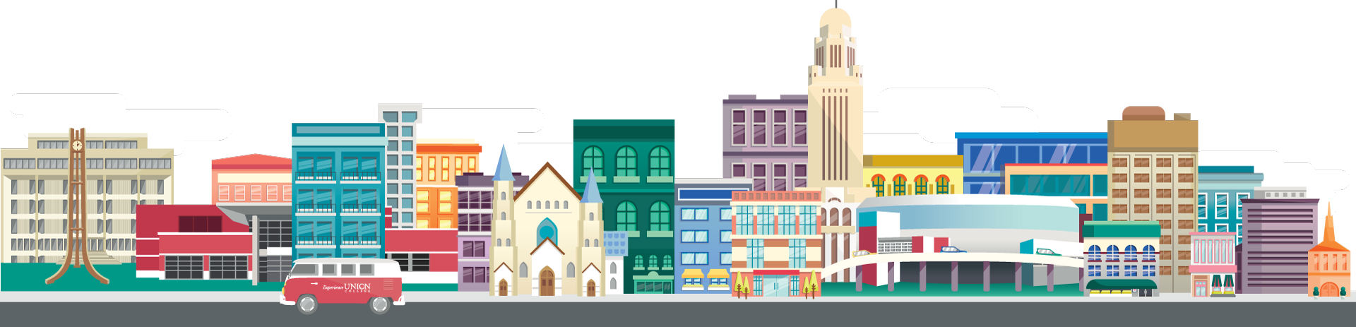 Illustration of buildings in Lincoln along with Union's VW Bus