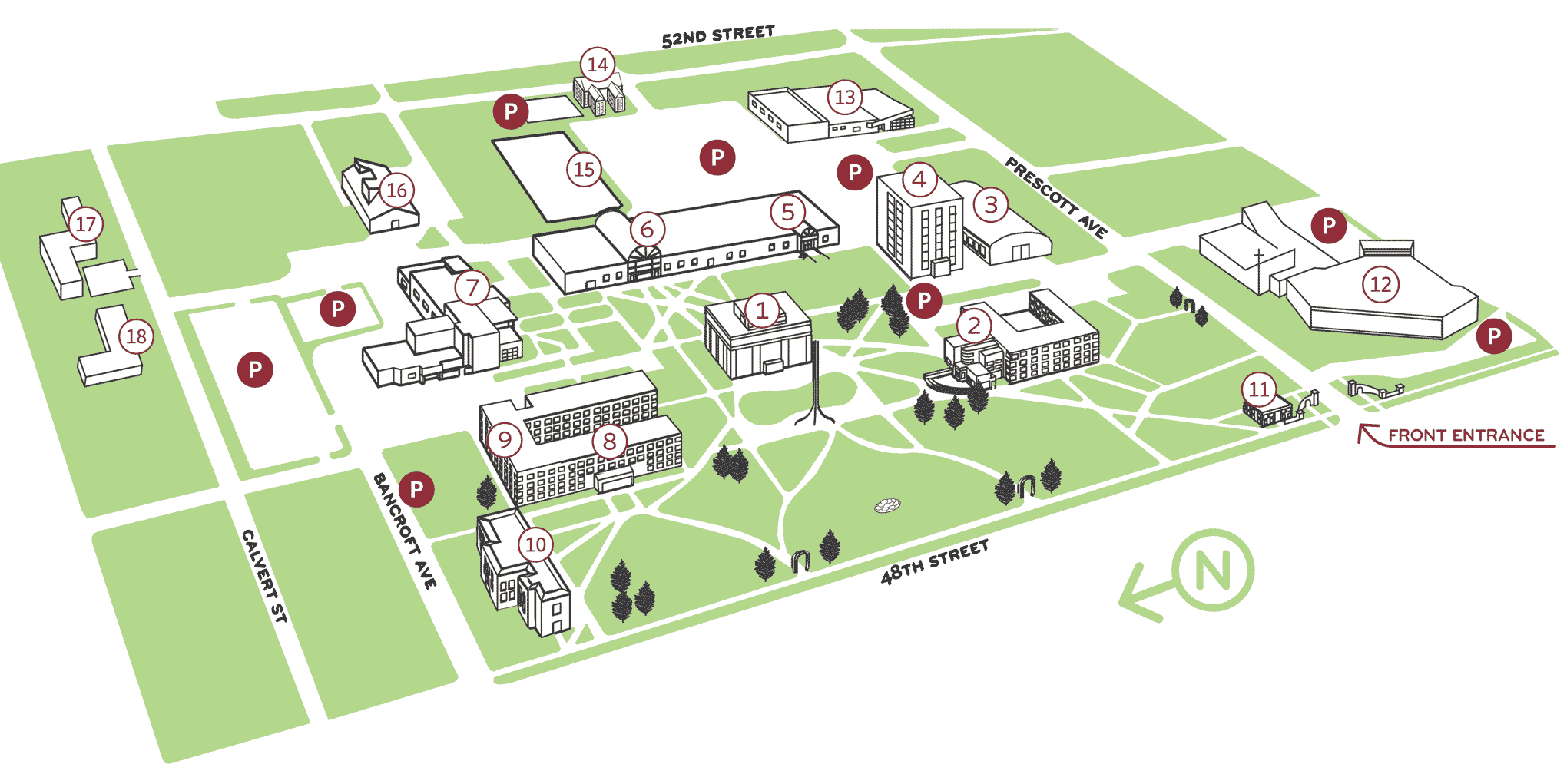 Illustration of campus buildings with numbers.