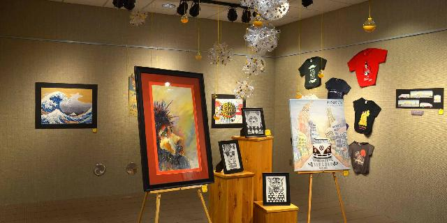 The McClelland Art Gallery with a senior graphic design student's work on display