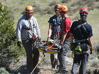 Photo of students practicing rescue techniques.