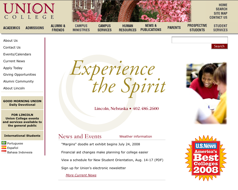 Screencapture of the 2004-2008 website.