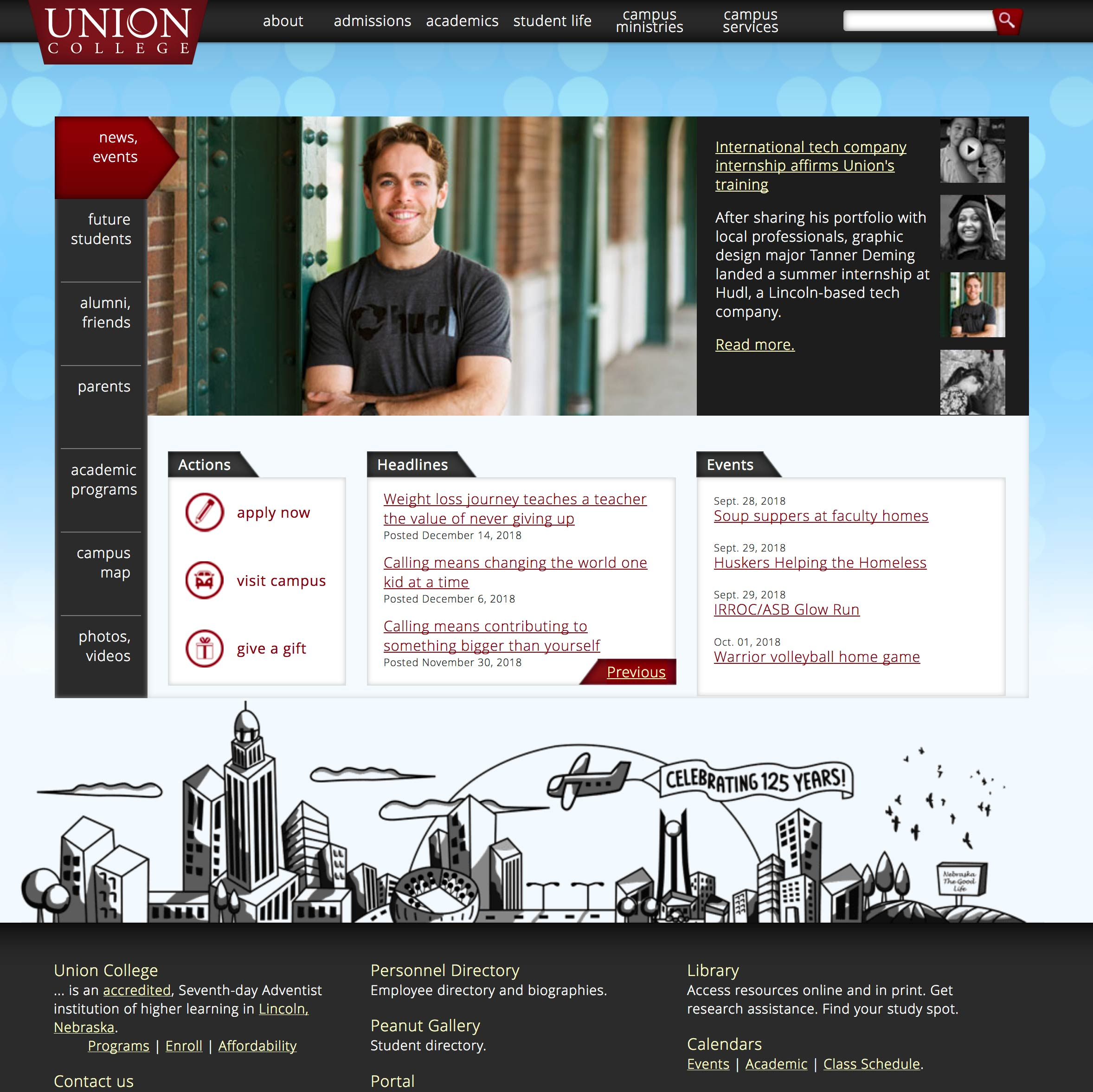 Screen capture of the 2012-2018 website