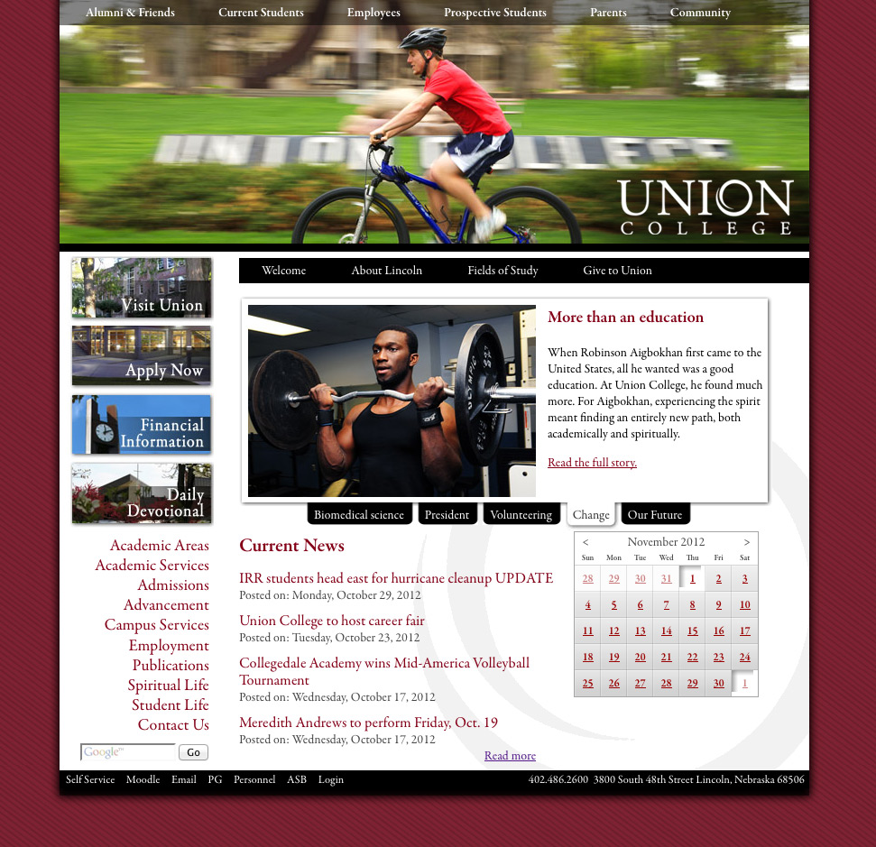 Screencapture of ucollege.edu from 2011.
