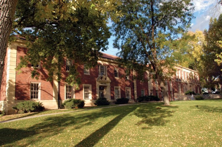 Originally built as two separate buildings, Engel Hall originally housed the library as well as the music program.