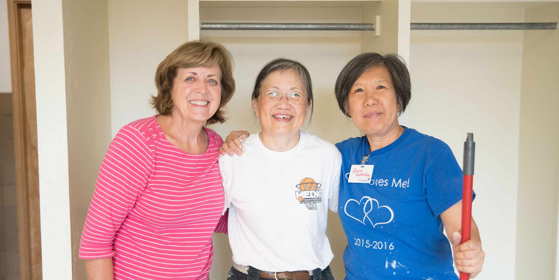 Photo of three Union college alumnae who helped renovate Rees Hall in 2019