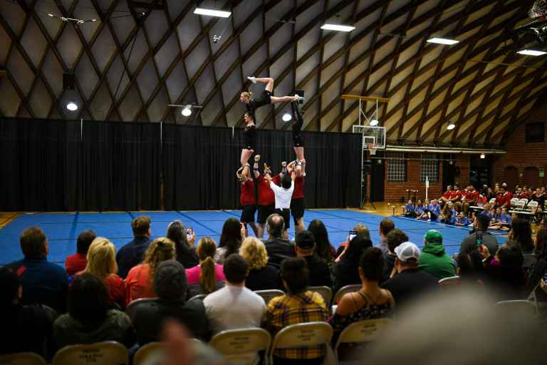 The Gymnaires are Union's acrobatic performance team.
