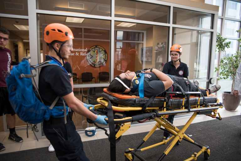 Each year, international rescue and relief students work with PA and nursing students as well as Lincoln's first responders to run disaster simulations and training exercises.