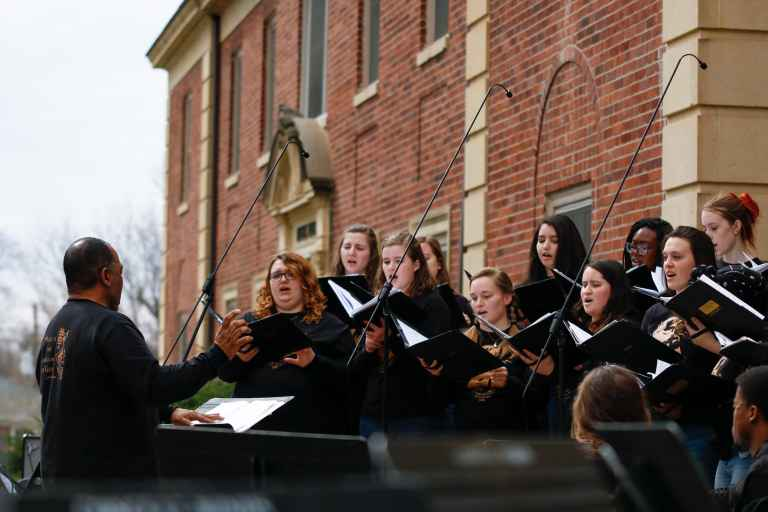 When the weather cooperates, the annual Spring Concert is performed on the lawn in front of Engel Hall.