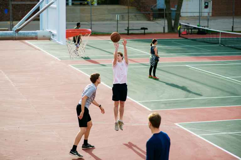 In addition to tennis, the courts can be used for half-court basketball.