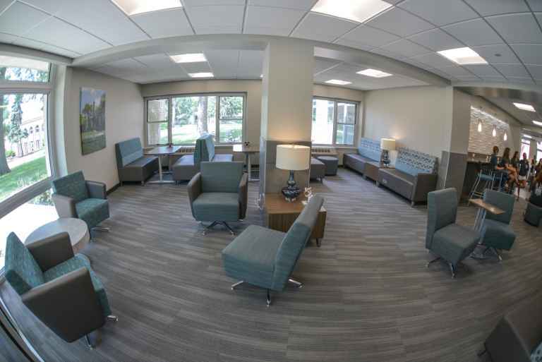Recently remodeled, the lobby of Rees Hall provides a modern space for study groups or to hang out with friends.