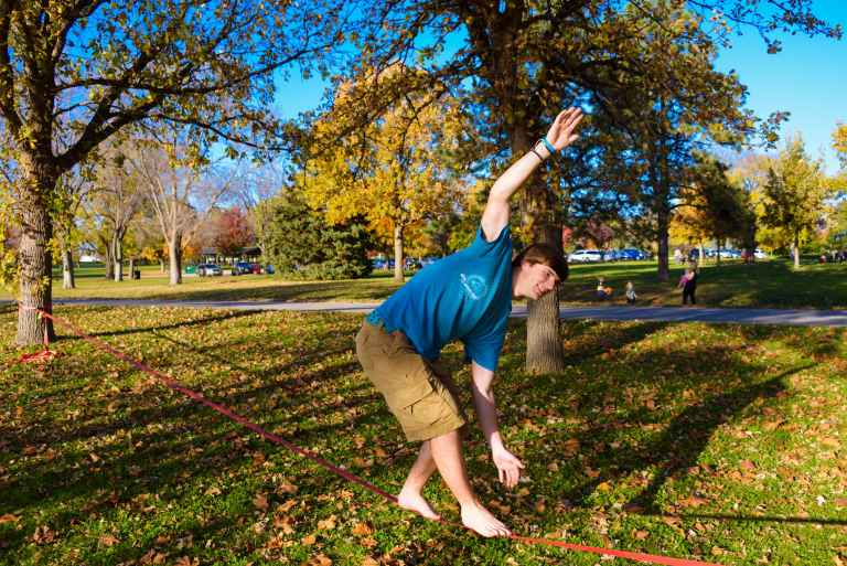 On a nice Sabbath afternoon, you're likely to meet other Union students slacklining or hanging out in hammocks.
