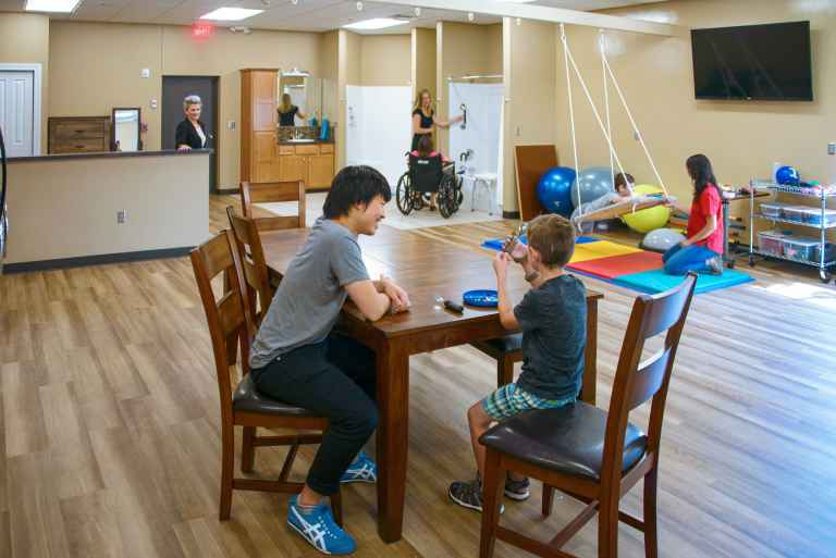 The occupational therapy assistant lab allows students to explore assistive technologies and adaptive exercises.