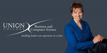 Photo of Lisa Gerrans Forbes with the logo for Union's Division of Business and Computer Science