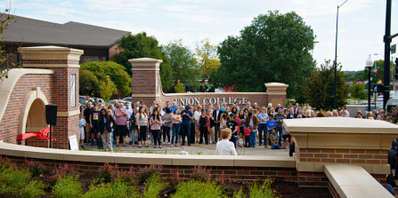 Photo of people gathered to dedicate the new front entrance.