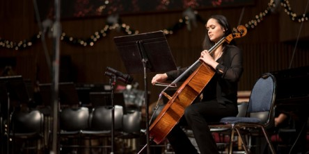 Student performing a cello solo during Union's annual Christmas concert